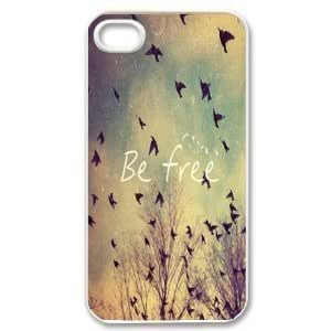 Apple iPhone 5c Be Free Birds Cute Quote Retro Vintage WHITE Sides Slim HARD Case Skin Cover Protector Accessory Vintage Retro Unique AT&T Sprint Verizon Virgin Mobile