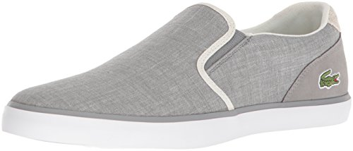 Lacoste Men's Jouer Slip On Sneaker, Grey Canvas, 9.5 M US