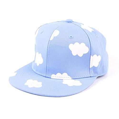 DSFEWRD Ladies Hip Hop Hats Pink Blue Clouds in Summer Fresh Cute Casual Flat-Brimmed Hat Print Canvas Baseball Caps Sky Blue ()