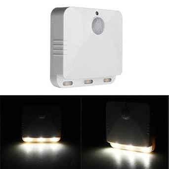 PIR Sensor de movimiento LED Luz de noche Lámpara con pilas blanca para el dormitorio en