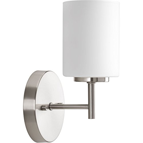 (Progress Lighting P2131-09 Contemporary/Soft 1-100W Med Bath Bracket, Brushed Nickel)