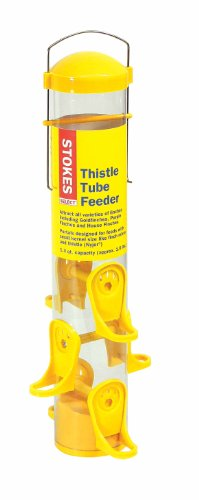 Nyjer Tube Feeder - Stokes Select Thistle Tube Bird Feeder with Six Feeding Ports, Yellow, 1.6 lb Capacity