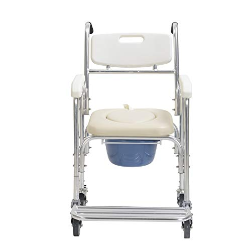 - Murtisol New 4 in 1 Padded Bedside Commode for Adults with Wheels and Foldable Footrest,Durable Waterproof Shower Toilet Chair for Seniors with Padded Seat
