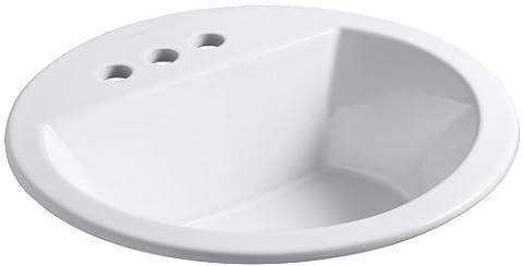 KOHLER K-2714-4-0 Bryant Round Self-Rimming Bathroom Sink with 4-Inch Centers, White (4 Vessel Sink)
