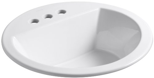 (Kohler K-2714-4-0 Vitreous china Drop-In Arch Bathroom Sink, 21 x 21 x 10 inches, White)