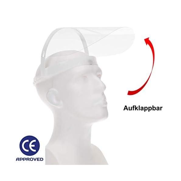 Fredo-Gesichtsschutz-Visier-aus-Polycarbonat-1-X-Halter-mit-je-2-Wechselfolien-Face-Shield-CE-Zertifiziertes-Visier-Aufklappbares-Gesichtsvisier-fr-MnnerFrauenKinder