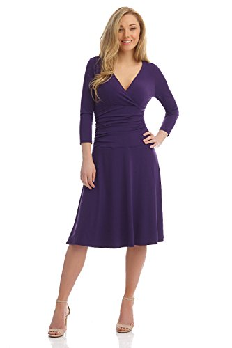 Aubergine Dinner (Rekucci Women's Slimming 3/4 Sleeve Fit-and-Flare Crossover Tummy Control Dress (14,Aubergine))