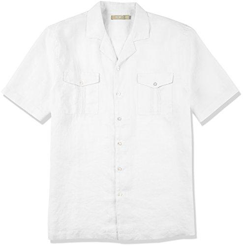 Isle Bay Linens Men's 100% Ramie Short Sleeve Standard Guayabera Shirt