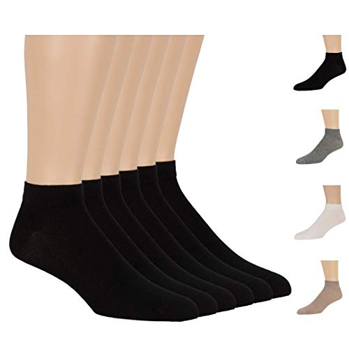 7BigStars Men Women Bamboo Black Ankle Low Cut 6 Pack Breathable No Sting Dress Casual Healthy Seamless Socks ((S) Shoe Size: 4-6 (Sock Size: 7-9), Black)