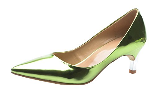 Dress Toe Stiletto Party Green Pumps Leather TDA Pointed Patent Heel Women's Kitten Evening Burnished RFRwEvxq