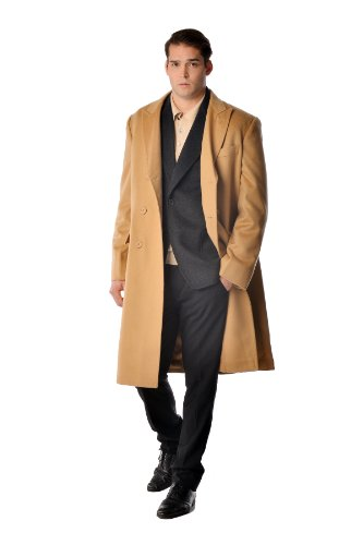 Cashmere Boutique: Men's Double Breasted Coat Overcoat Topcoat in 100% Pure Cashmere (Color: Camel Brown, Size: 38) - Double Breasted Cashmere