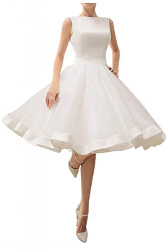 Angel Bride Ivory Short A-Line Prom Dress Beach Wedding Dresses Bateau - US Size 4