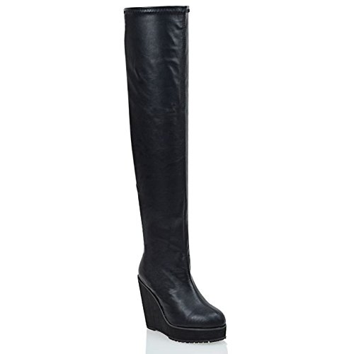 ESSEX GLAM Womens Black Synthetic Leather Stretch Over The Knee Thigh High Platform Wedge Heel Boots 7 B(M) US