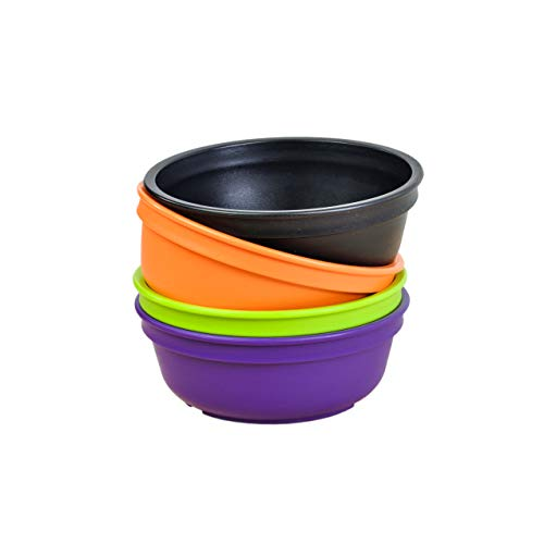 Re-Play Made in The USA 4pk Toddler Feeding Bowls for Easy Baby, Toddler and Child Feeding - Black, Orange, Lime Green, Amethyst (Halloween+, 5