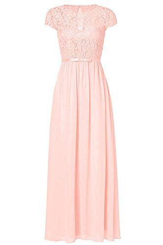 Ssyiz Custom Women's Vintage Floral Lace Cap Sleeve Long Chiffon Bridesmaid Evening Dress (10, Blush)