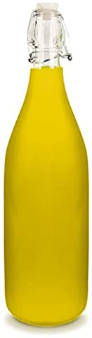 Glass Water Bottle - Frosted Yellow Color - Holds 1 Liter/33 Oz of Liquid - Swing Top Secure - Butterfly Perfume Stopper Bottle
