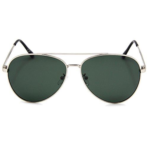 ... AMZTM - Lunettes de soleil - Homme Argenté Vert foncé ... 54844e14eb86