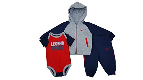Nike Infant Boys' Futura Full-Zip Hoodie 3-Piece Gift Set (6-9 Months, Obsidian (695) / Red/Heather Grey)