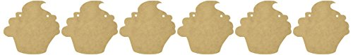 Kaisercraft SB2176 Beyond The Page MDF Cupcake Pennant, 5 by 5-Inch, 6-Pack
