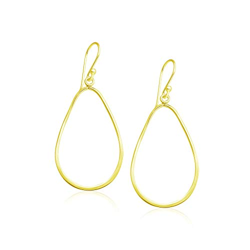 (Sterling Silver Pear Shape French Wire Dangle Earrings Yellow Gold Flashed Finish)
