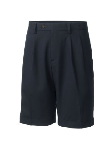 Cutter & Buck Men's Twill Microfiber Pleated Short, Navy Blue, 32 Waist (Pleated Front Microfiber Shorts)