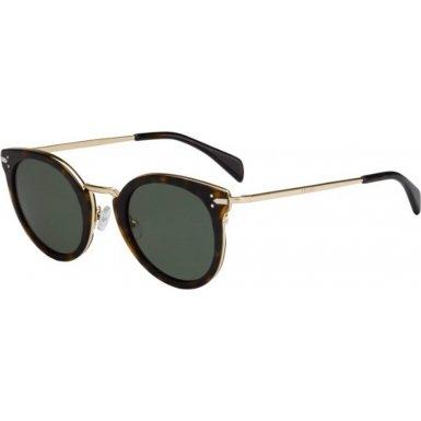 Celine Women's 41373 Dark Tortoise / Gold Frame/Grey / Green Lens Metal/Plastic - Tortoise Sunglasses Celine