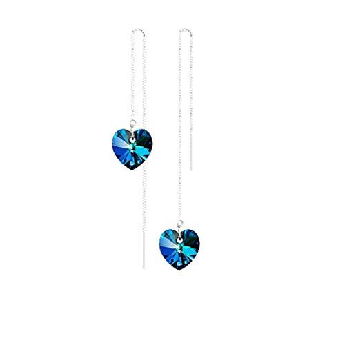 SMS Shoppe Women Romantic Blue Love Zircon Earrings