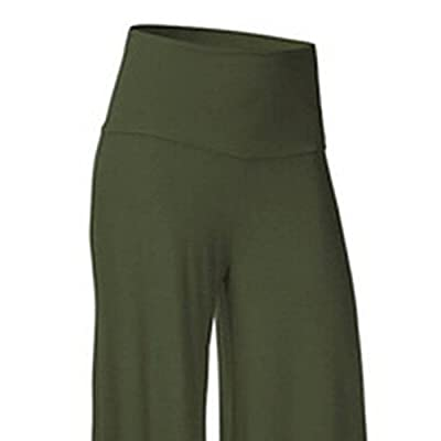 SL Women's Soft Wide Leg Palazzo Pants with High Fold Over Waist Band at Women's Clothing store