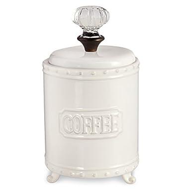 Mud Pie ceramic Coffee Canister Door Knob Handle, , White