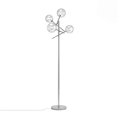 Surpars House Sputnik Chandelier Floor Lamp, 4-Lights Globe Floor Light with Smoky Grey Glass Shade,Chrome Silver (Floor Lamp Silver Modern)