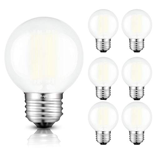 CRLight 6W LED Globe Bulb 4000K Daylight White 600LM Dimmable, 60W Incandescent Equivalent, E26 Base Edison G16(G50) Frosted Glass Ceiling Fan Bathroom Vanity LED Light Bulbs, 6 Pack