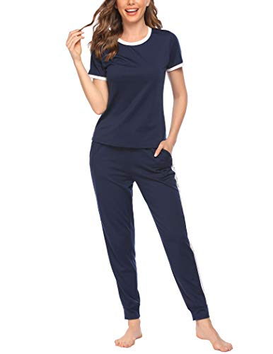 Ekouaer Women's Jogger Pajamas Short Sleeves Pajama Set Two Pieces Pj Set Casual Sleepwear with Pockets