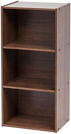IRIS USA, Inc. TSB-DB 3-Tier Basic Wood Bookcase Storage Shelf, Dark Brown