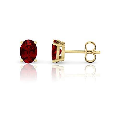 14K Yellow Gold Oval Cut Genuine Garnet Stud Earrings (7x5mm)