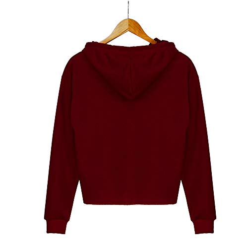 Sweatshirt Color Round Tops Hooded Sleeve Blouse Womens Long Neck Solid Red qPyfCFaw