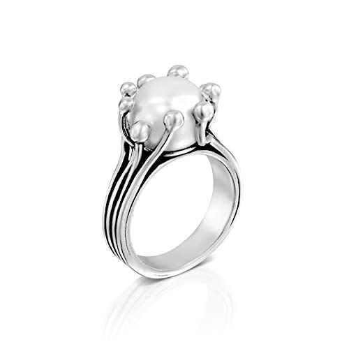 PZ Paz Creations 925 Sterling Silver 10MM Classic White Natural Freshwater Cultured Pearl Ring for Women (Size - Rings Promise Pearl