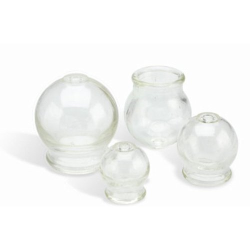 4 Round Glass Cups Fire Cupping Jars for Chinese Cupping Therapy and Massage
