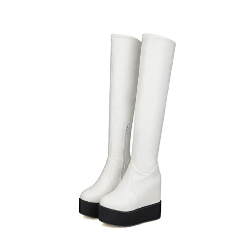 AmoonyFashion Womens Round Closed Toe PU Zipper High-heels Above-the-knee Boots White Slir1dzq
