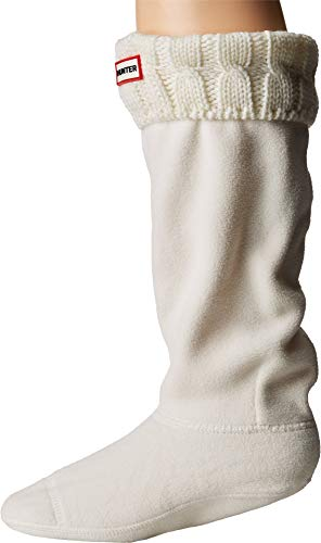 Hunter Women's 6 Stitch Boot Sock, Natural White, Medium -
