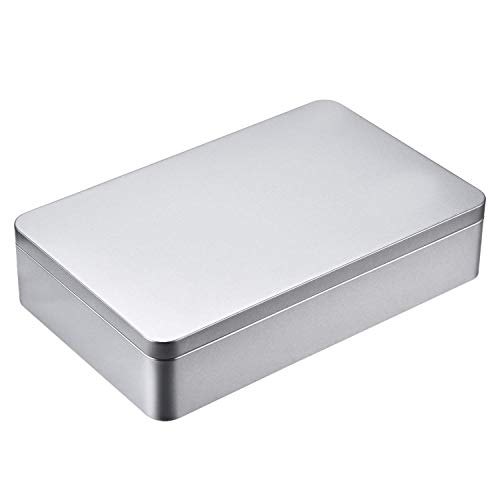 8.5 by 5.3 by 1.9 inch Silver Rectangular Empty Tin Box Containers, Gift, Jewelery and Storage Tin Kit, Home Organizer