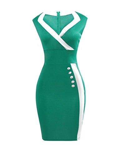 Women Stripes Long Sleeve V-Neck Bottons Slim Casual Dress XL - - 4