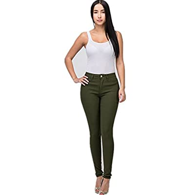 High Waisted-Rise Colored Stretch Skinny Destroyed Ripped Distressed Jeans for Women Olive Mustard RED at Women's Jeans store