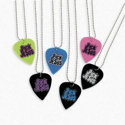Pick Jesus Guitar Pick Necklaces (1 dozen) - Bulk [Toy] -
