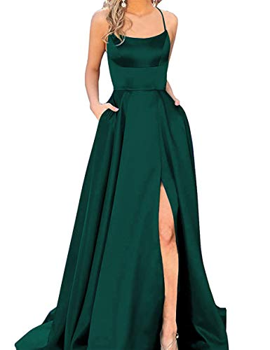 Halter Prom Dresses Long Split A-Line Spaghetti Evening Gowns with Pockets 2019 Dark Green Size 16 A-line Halter Long Satin