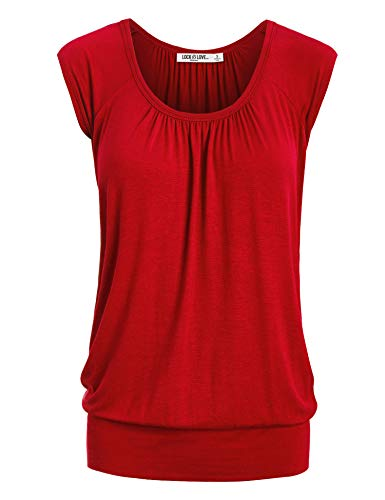 (WT1054 Womens Solid Short Sleeve Sweetheart Top L)
