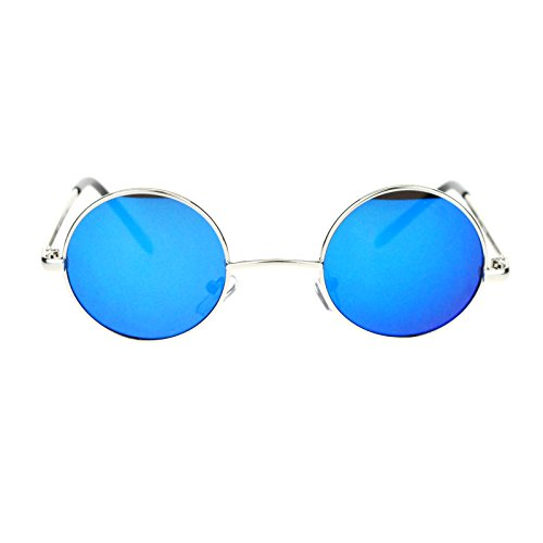 Retro Extra Small Round Circle mirrored Lens 70s Groovy Hippie Sunglasses Silver Blue (Retro 70s Fashion)