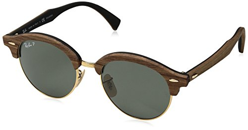 Ray-Ban Wood Unisex Polarized Round Sunglasses, Gold, 51 - Ban Wood Ray