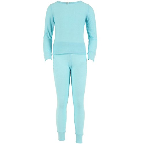 SLM Therma Tek Girl's 100% Cotton Thermal Underwear Two Piece Set-Small-Light Blue
