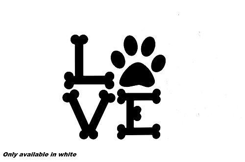 Love dog bones puppy pug retriever lab car truck window sticker vinyl decal