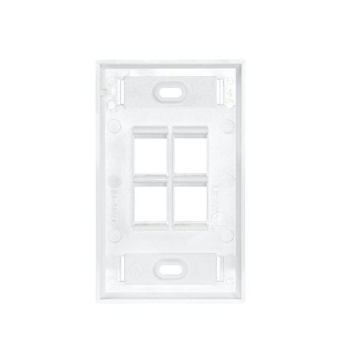 Leviton 42080-4WS QuickPort Wallplate with Id Window, Single Gang, 4-Port, White ()